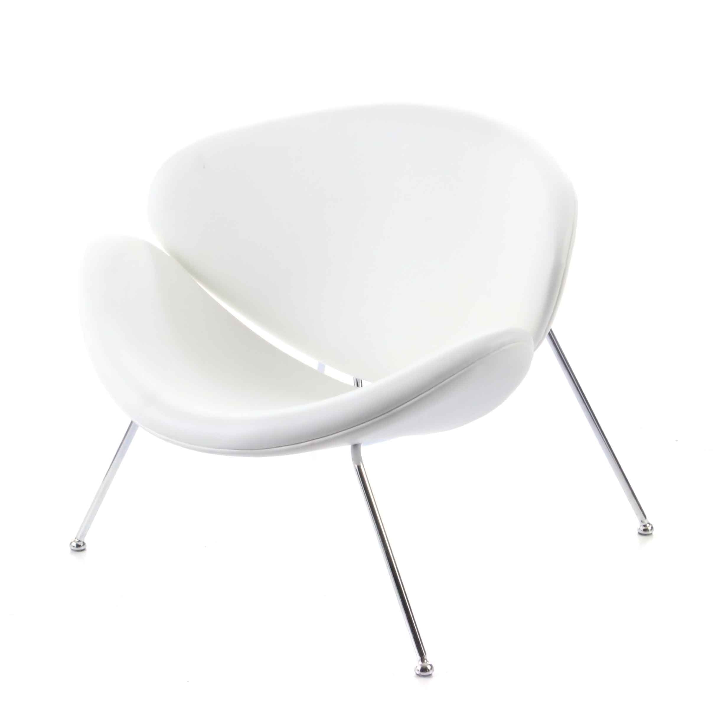 Mid Century Modern Style White Vinyl and Chrome Chair