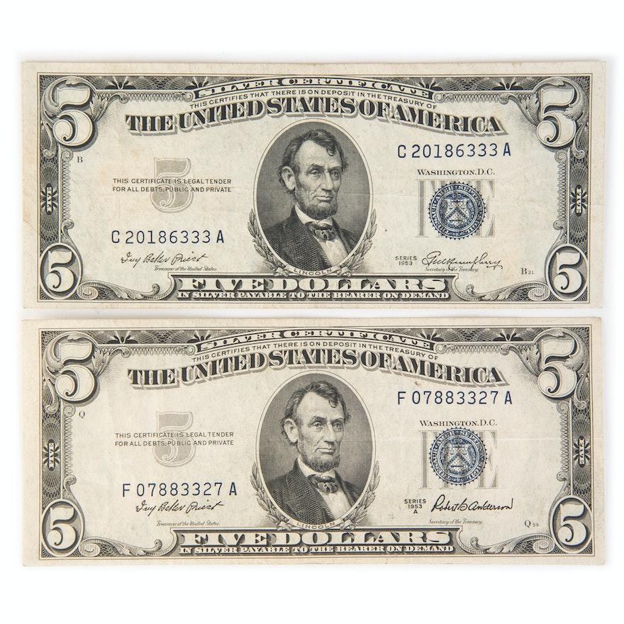 1953 Five Dollar Silver Certificates : EBTH