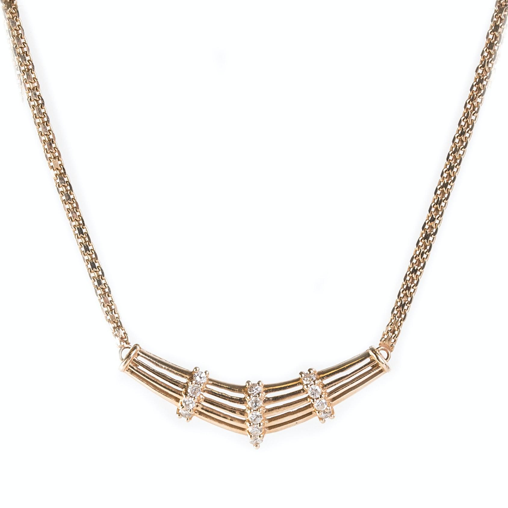 14K Yellow Gold and Diamond Station Necklace