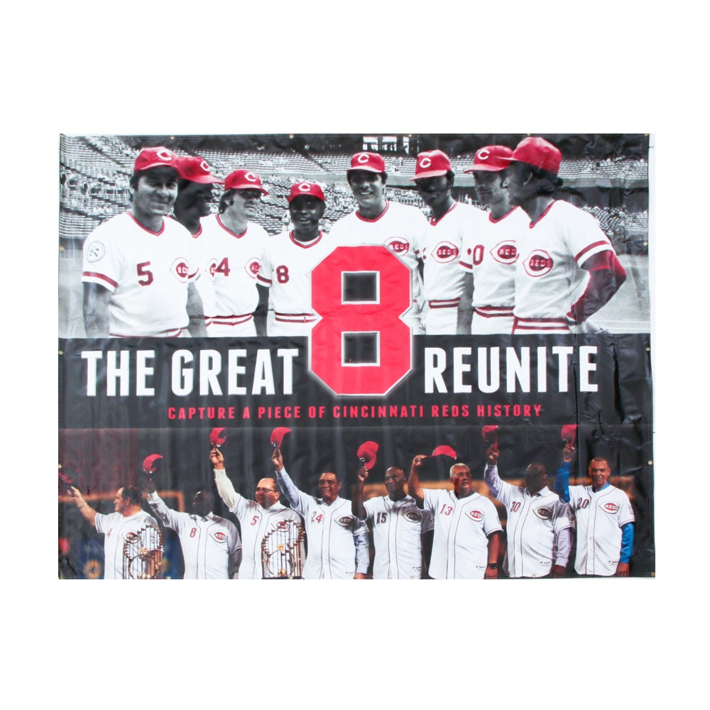 "Cincinnati Reds Hall of Fame and Museum ""The Great 8 Reunite"" Banner COA"