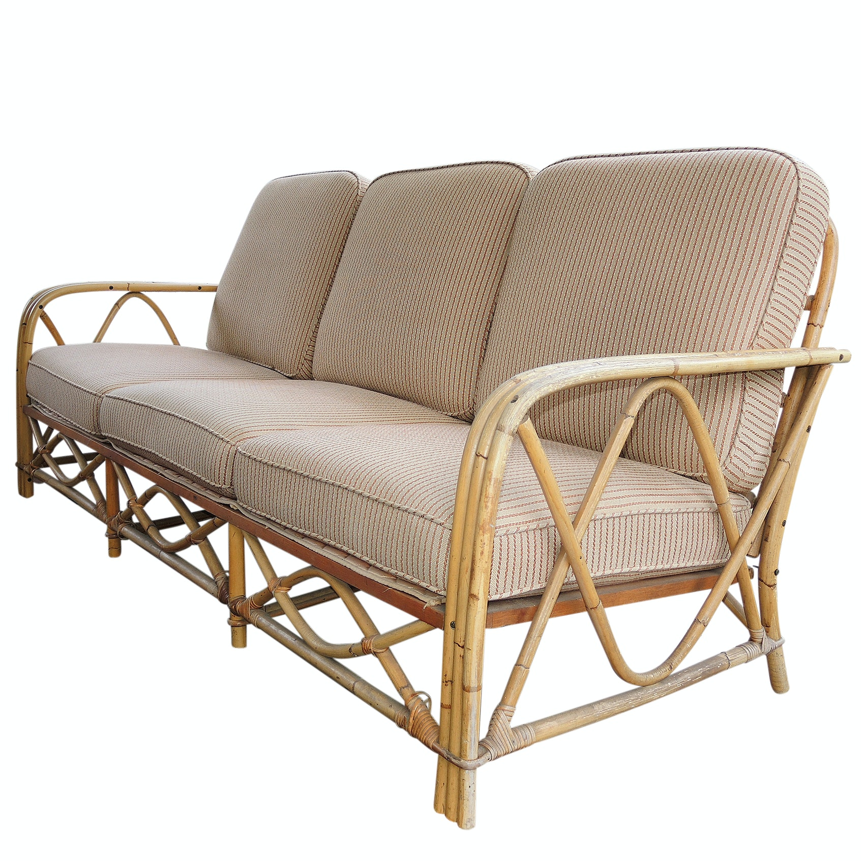 Ficks Reed Bamboo and Rattan Sunroom Sofa