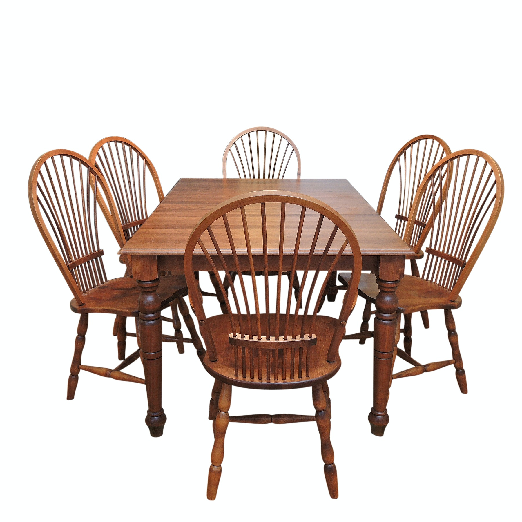 Bedard Farmhouse Style Dining Table and Six Windsor Style Chairs
