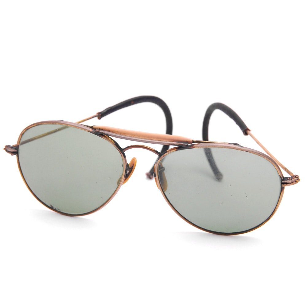WWII Era Aviator Sunglasses with Gold Filled Frames