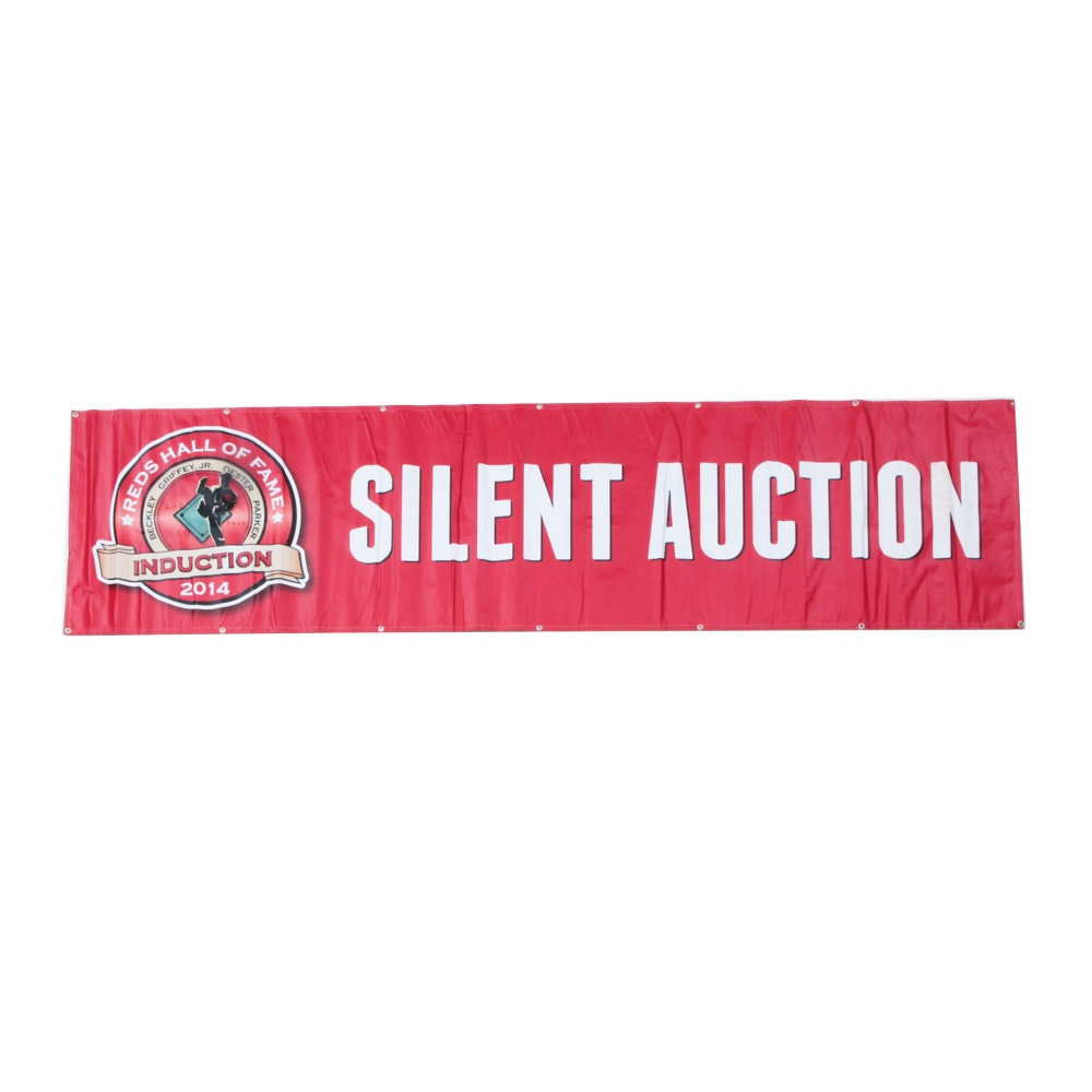 """2014 Reds Hall of Fame Induction """"Silent Auction"""" Banner COA"""