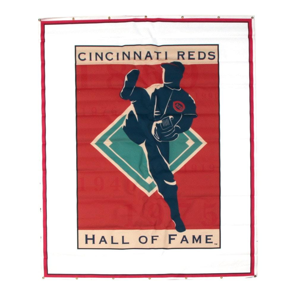 Large Cincinnati Reds Hall of Fame Logo Banner COA