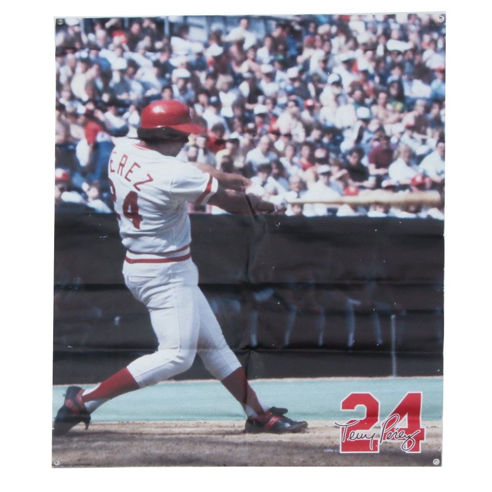 Tony Perez Cincinnati Reds Hall Of Fame Banner COA
