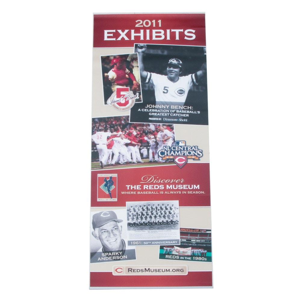 2011 Cincinnati Reds Hall of Fame and Museum Exhibit Banner COA