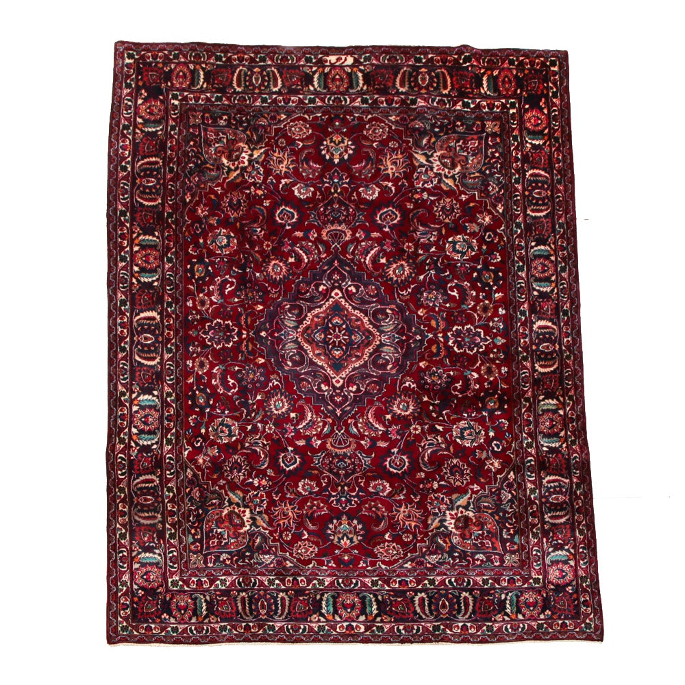 Signed Hand-Knotted Persian Mashad Area Rug