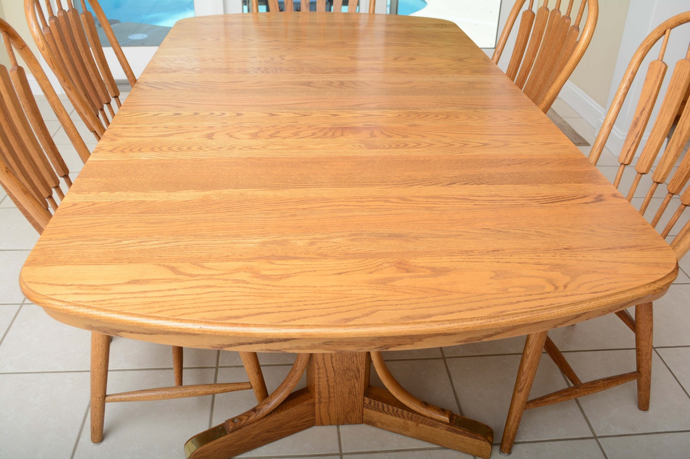Oak Dining Table And Windsor Style Chairs Set By