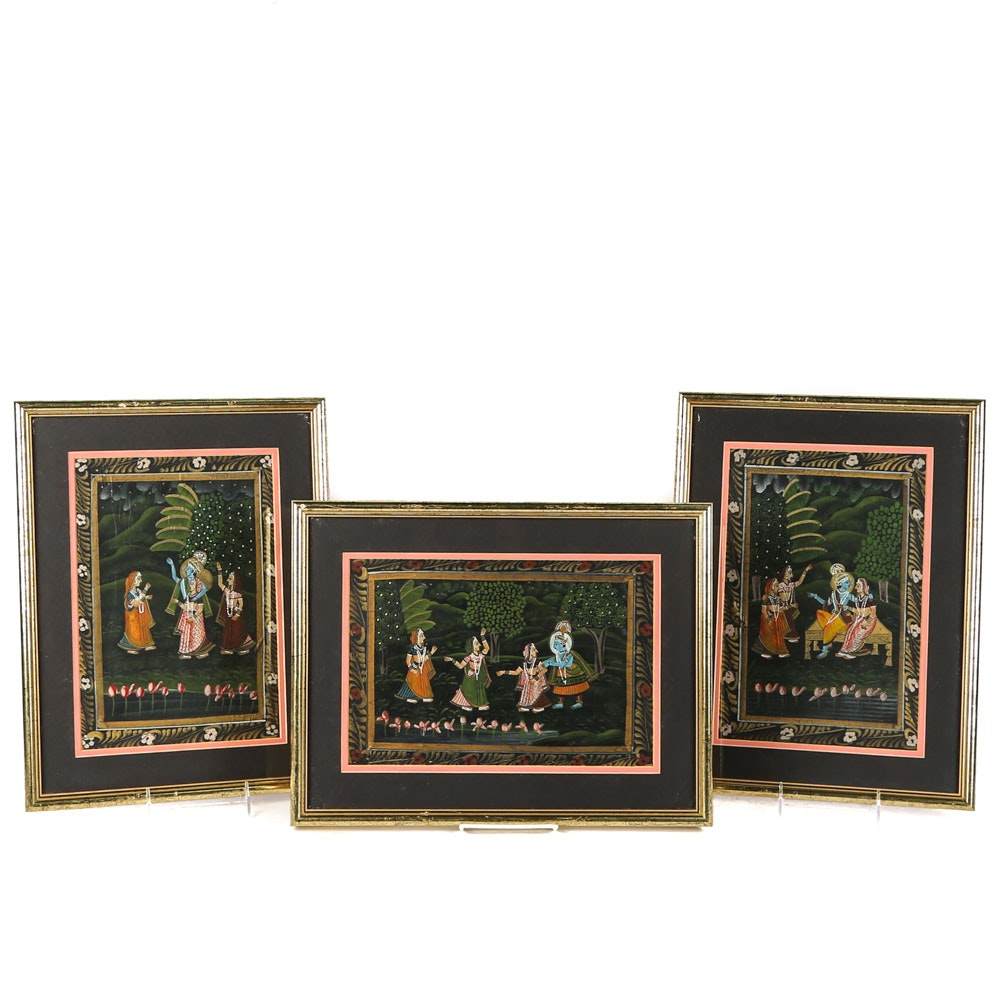 Indian Gouache Paintings of Krishna on Silk