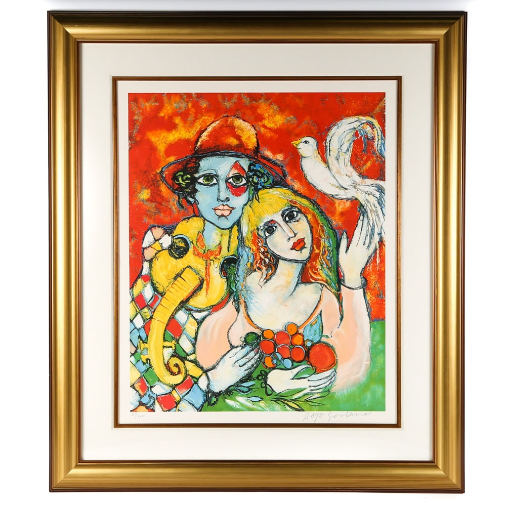 """Raya Sorkine Signed Limited Edition Lithograph """"Les Amoureux et la Colombe"""""""