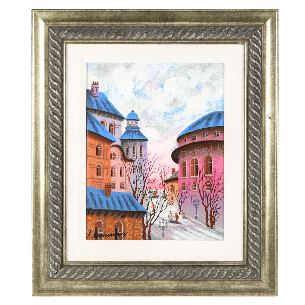 "Anatole Krasnyansky Signed Serigraph on Canvas ""Augsburg, Germany"""