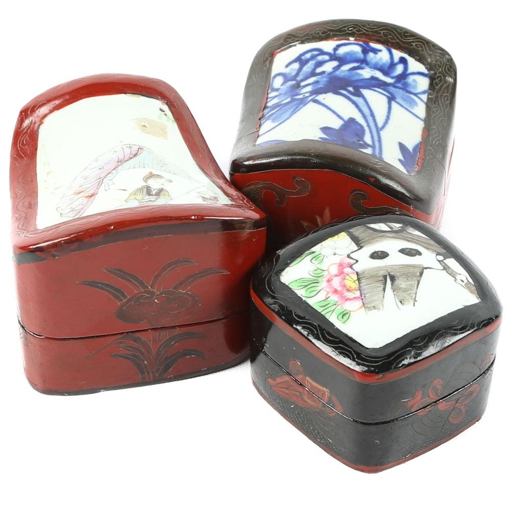 Chinese Porcelain Shard Trinket Boxes