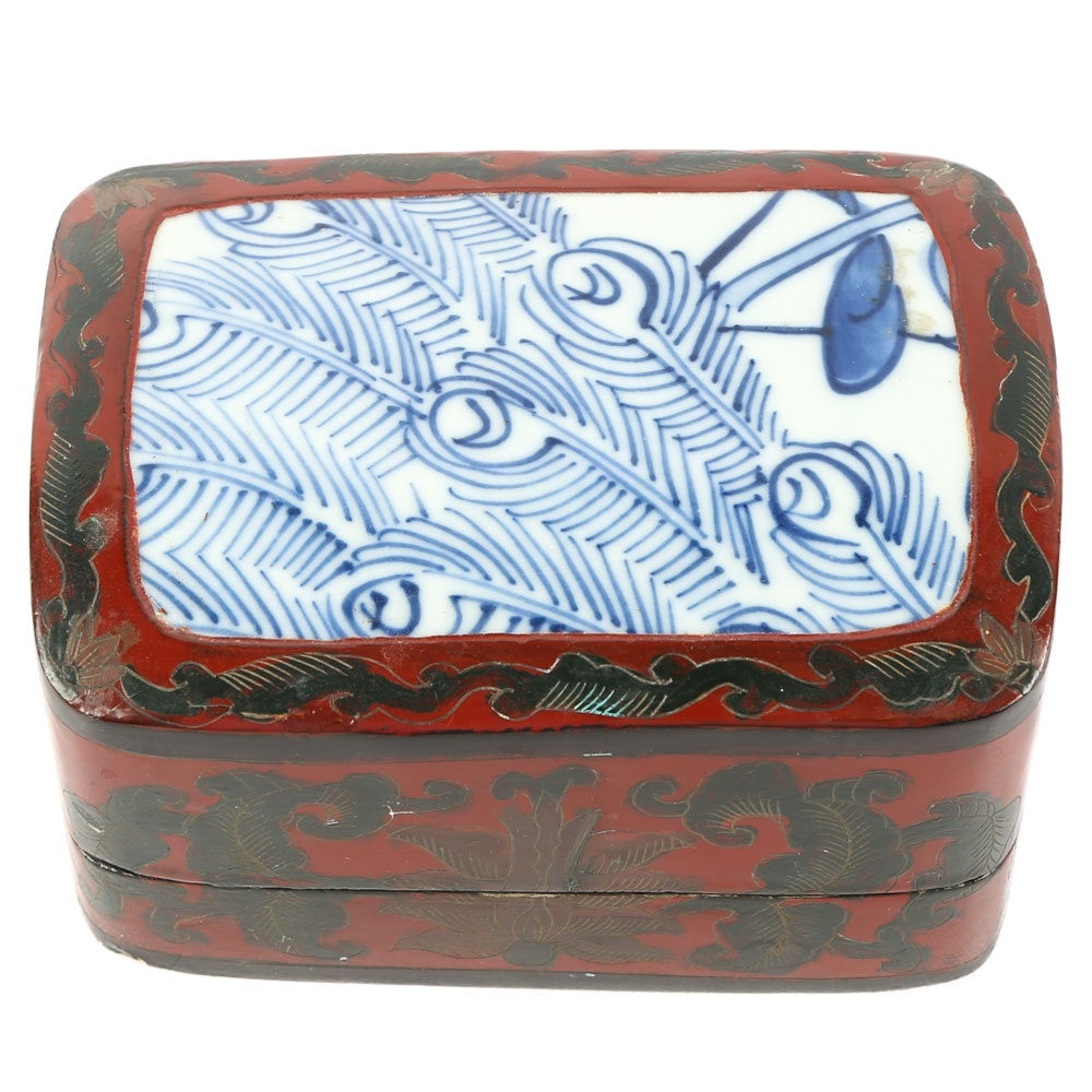 Chinese Porcelain Shard Lacquered Box