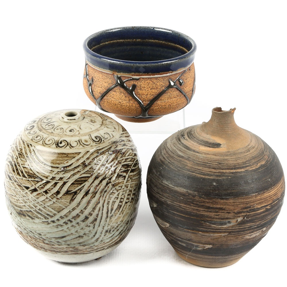 Hand Thrown Stoneware Art Pottery Vessels