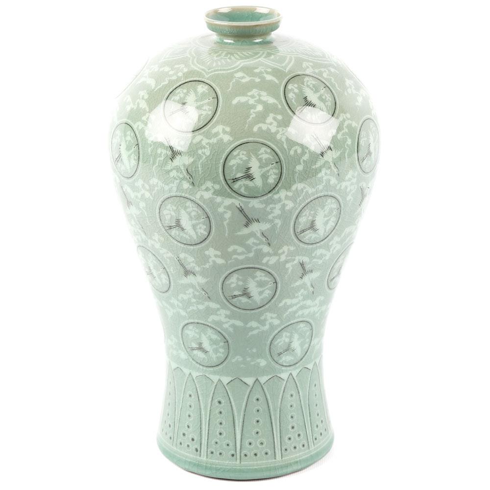 Chinese Celadon Crane Medallion Ceramic Vase