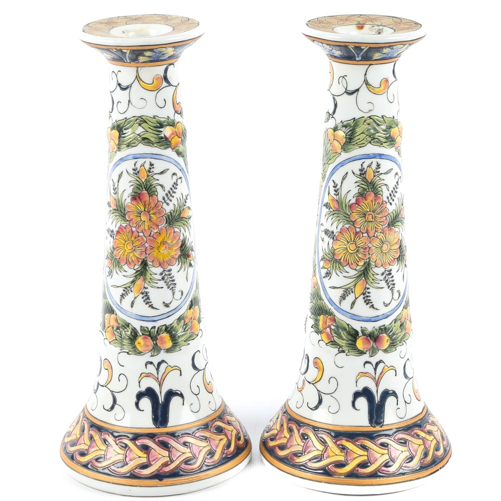 Italian Provincial Hand-Painted Ceramic Candlesticks
