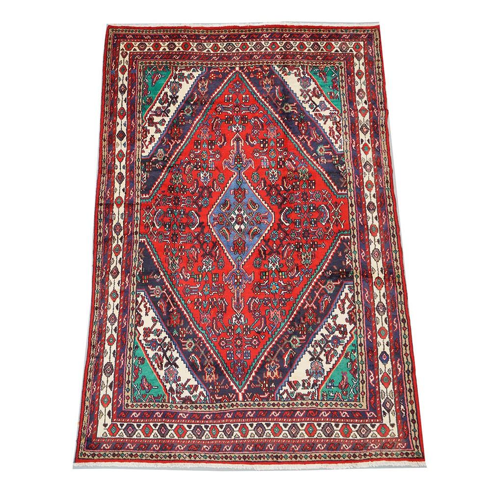 Hand-Knotted Persian Hamadan Wool Area Rug