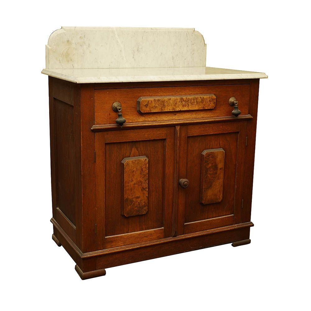 Antique Stone Top and Burl Cabinet