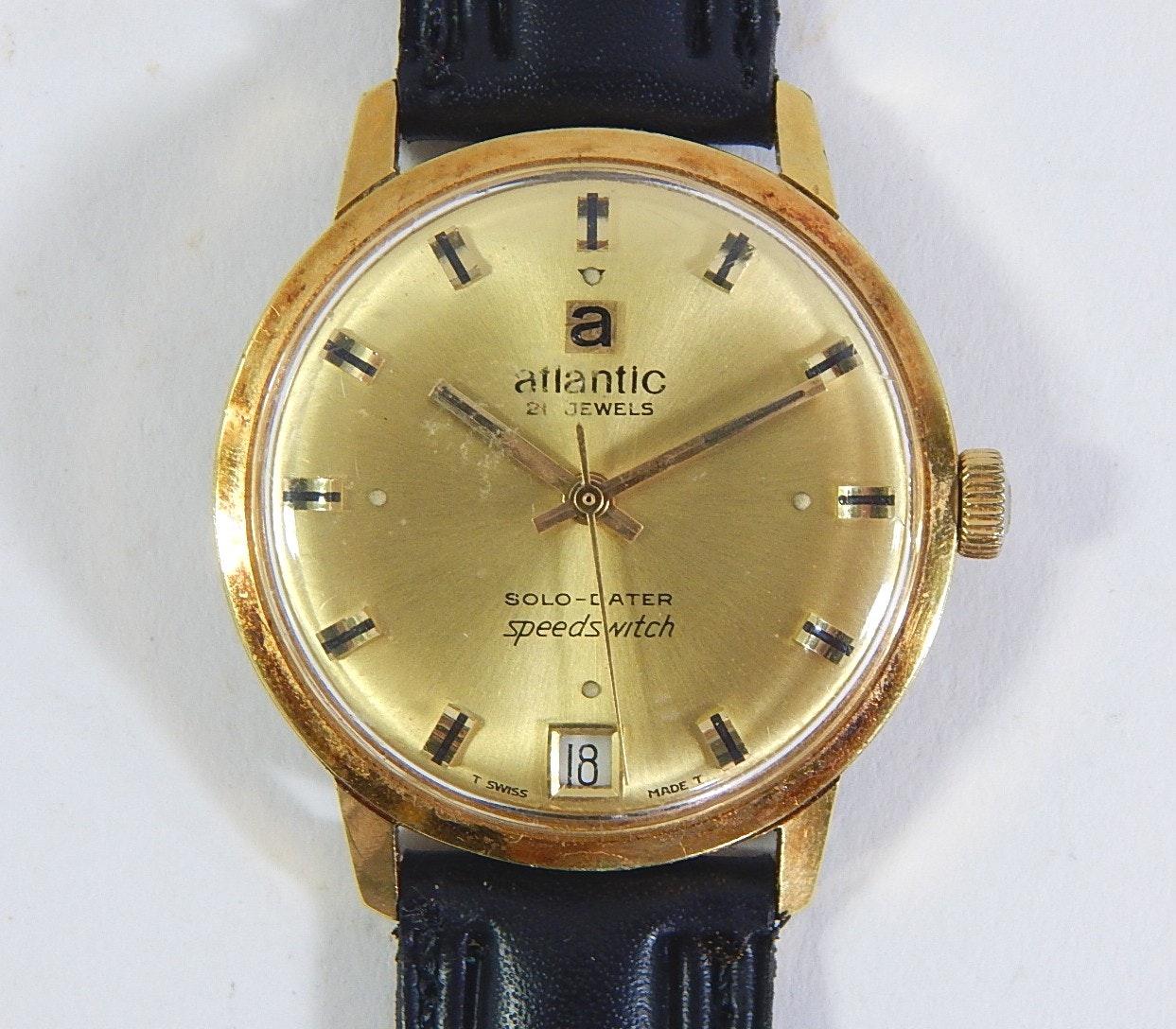 Vintage Atlantic 21 Jewel Solo-Dater Speedswitch Gold-Tone Wristwatch