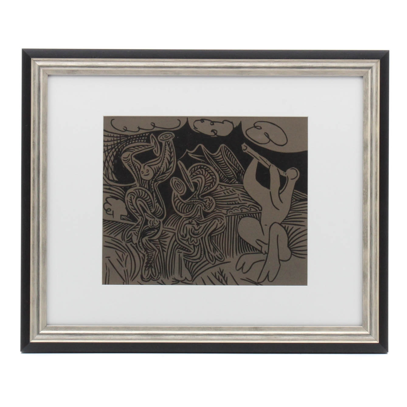 """Pablo Picasso 1962 Linocut """"Dancing Satyrs and Flute Player"""""""
