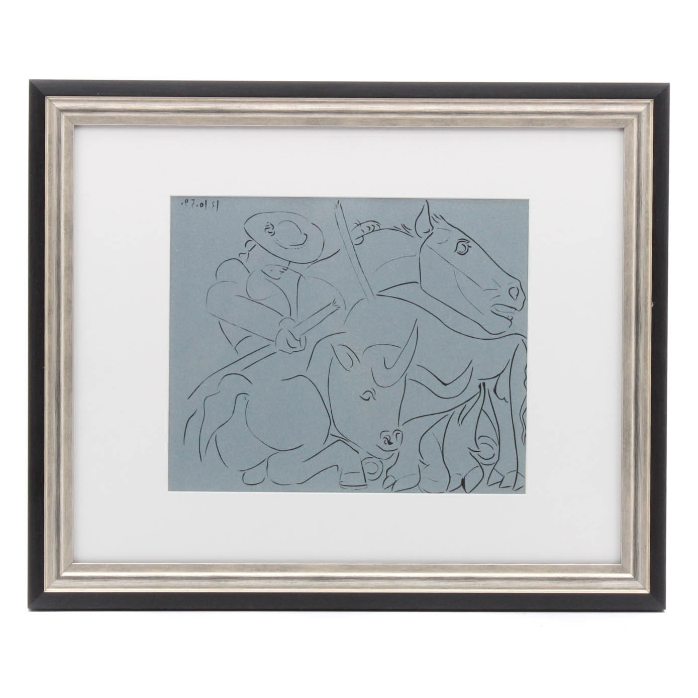 "Pablo Picasso 1962 Linocut ""The Broken Lance"""