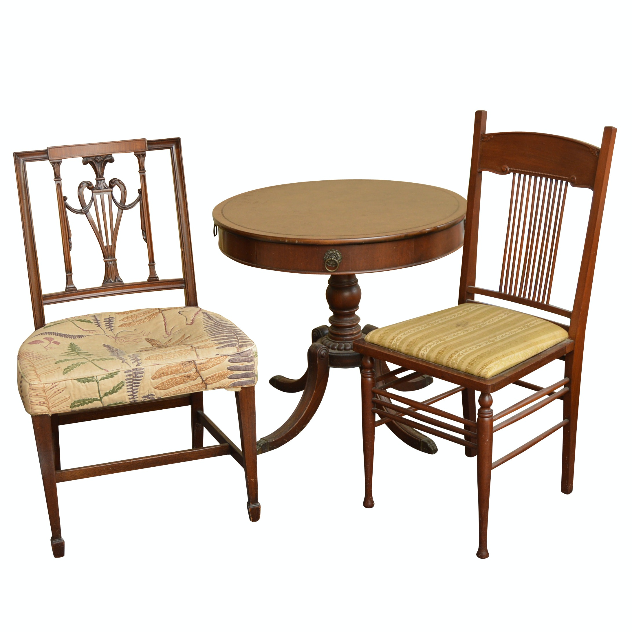 Neoclassic Style Table and Two Chairs