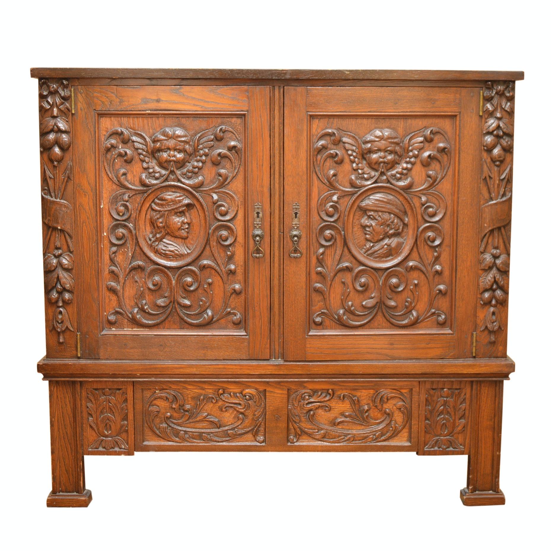 Vintage Renaissance Revival Red Oak Cabinet