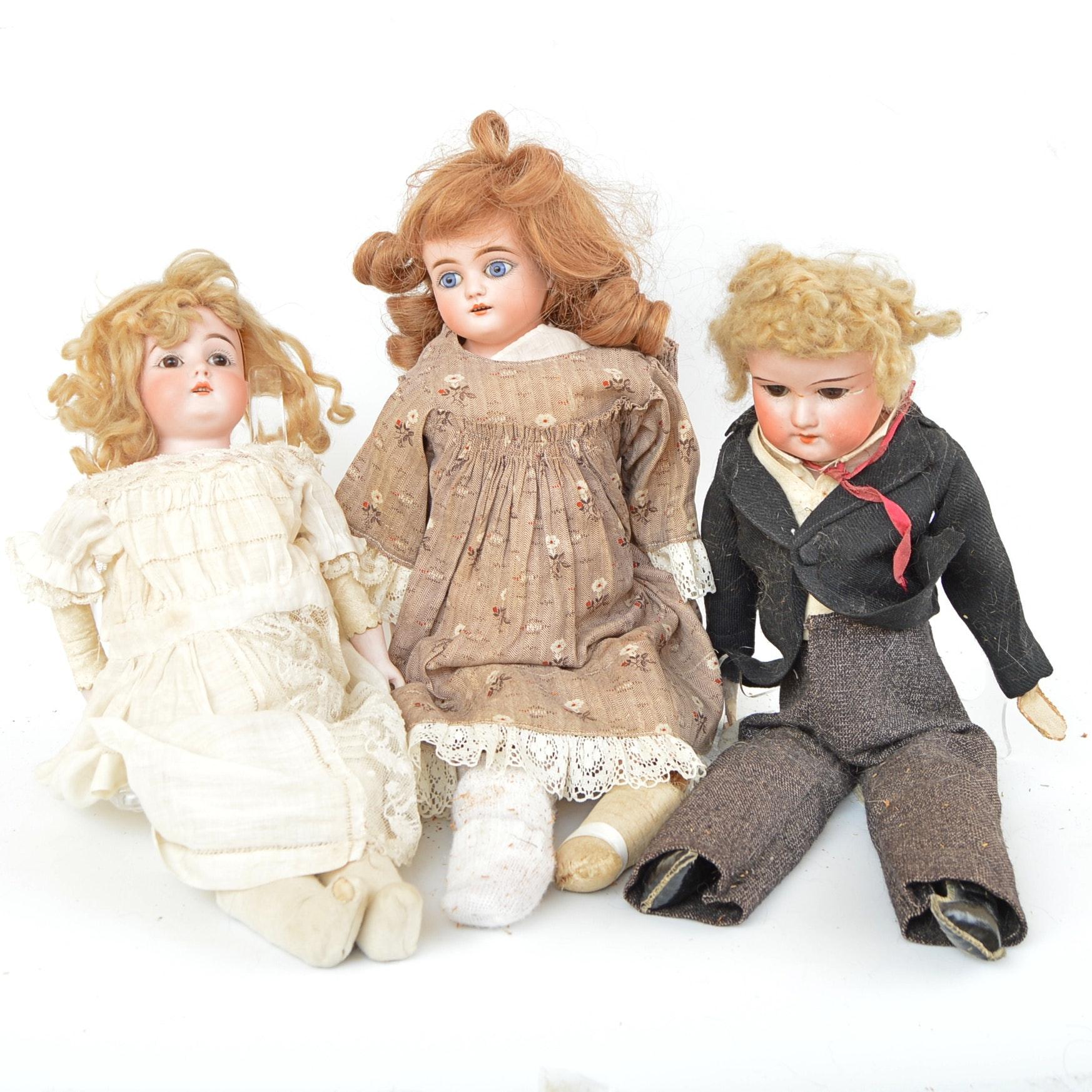 Antique German Bisque Head Dolls