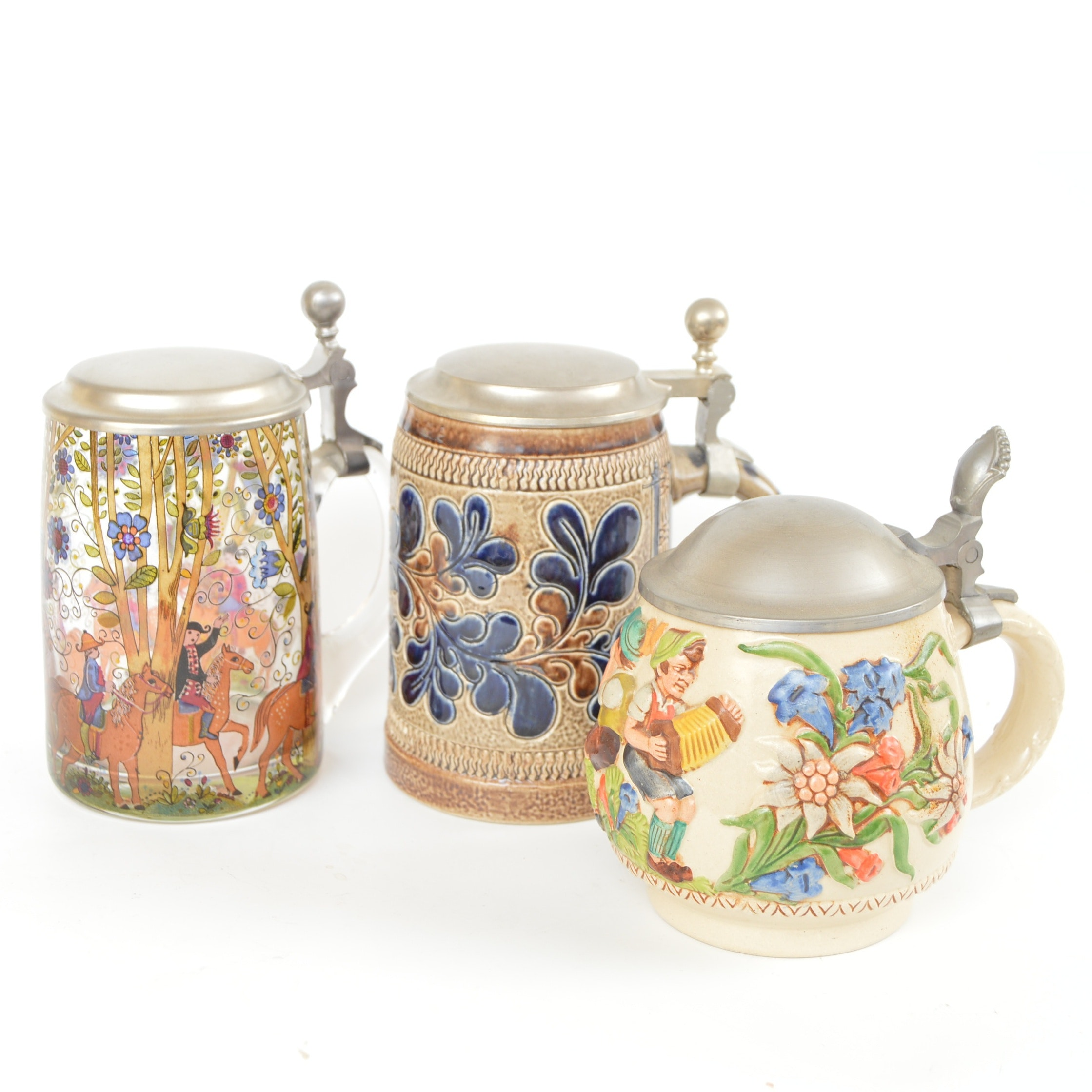 Vintage Beer Steins including Reinhold Merkelbach and Marzi & Remy