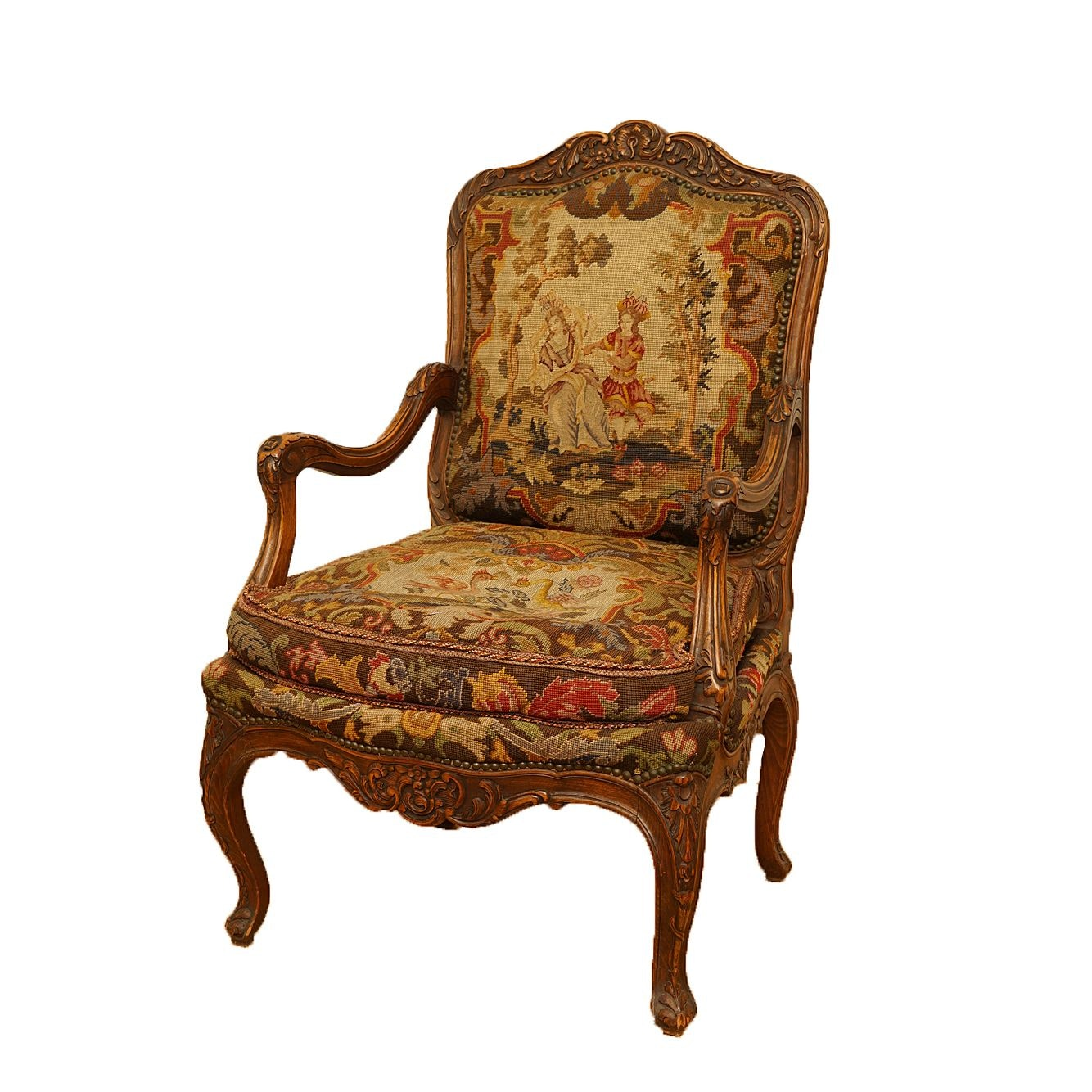 Louis XV Style Armchair with Needlepoint Upholstery