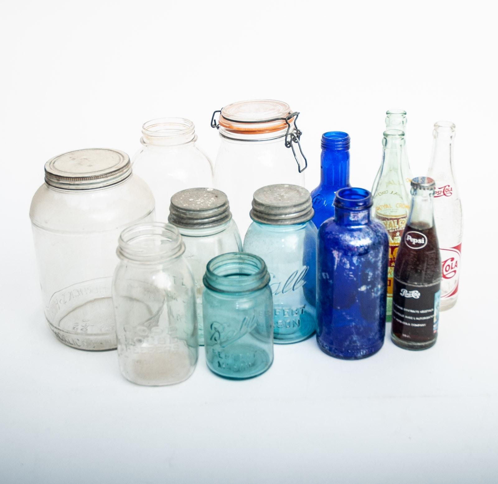 Vintage Glass Mason Jars Including Ball
