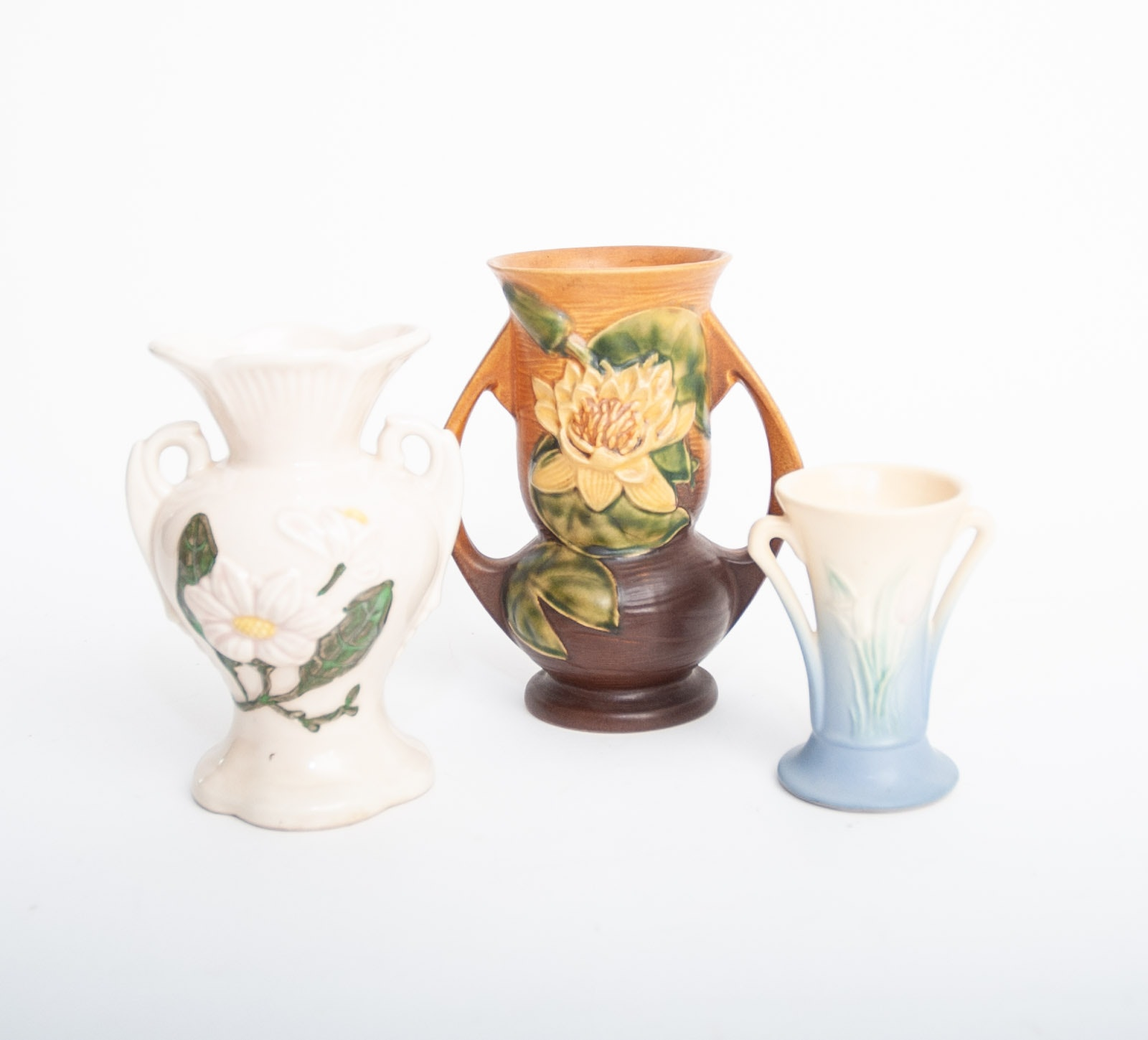 "Roseville Pottery ""Water Lily"" and Hull Vases"