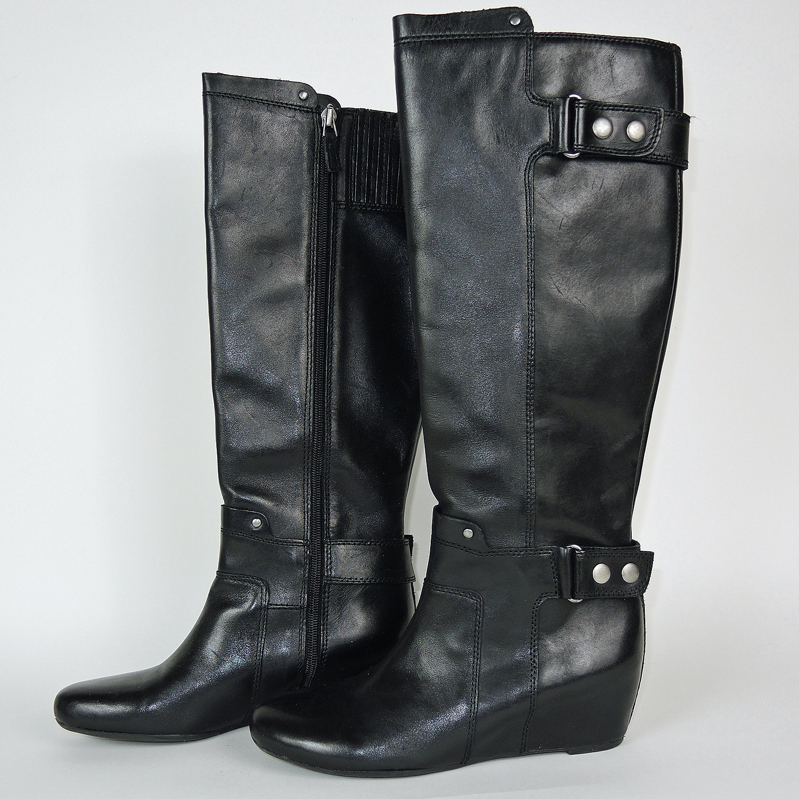 Franco Sarto Designer Black Leather Tall Boots