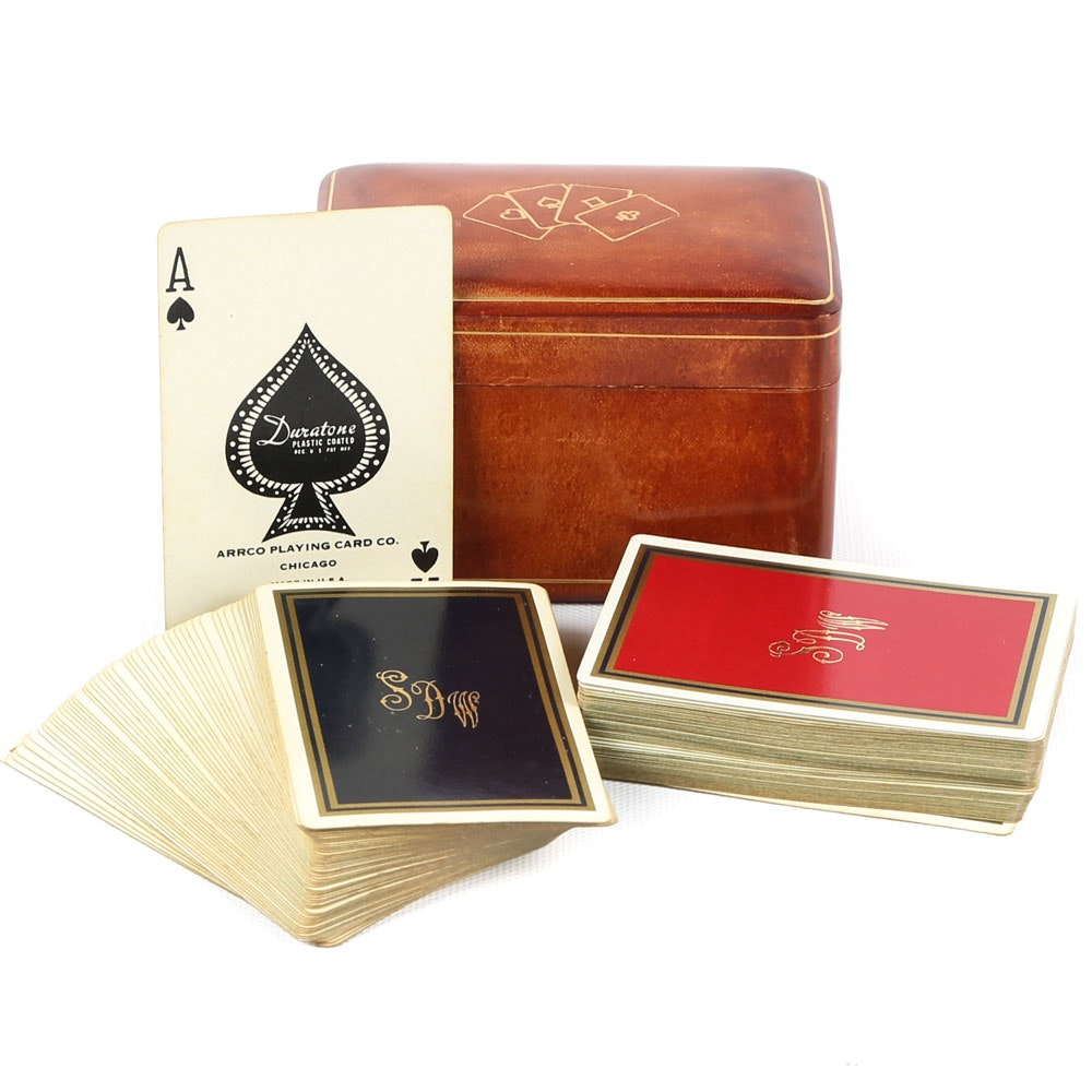 Vintage Italian Leather Playing Card Box