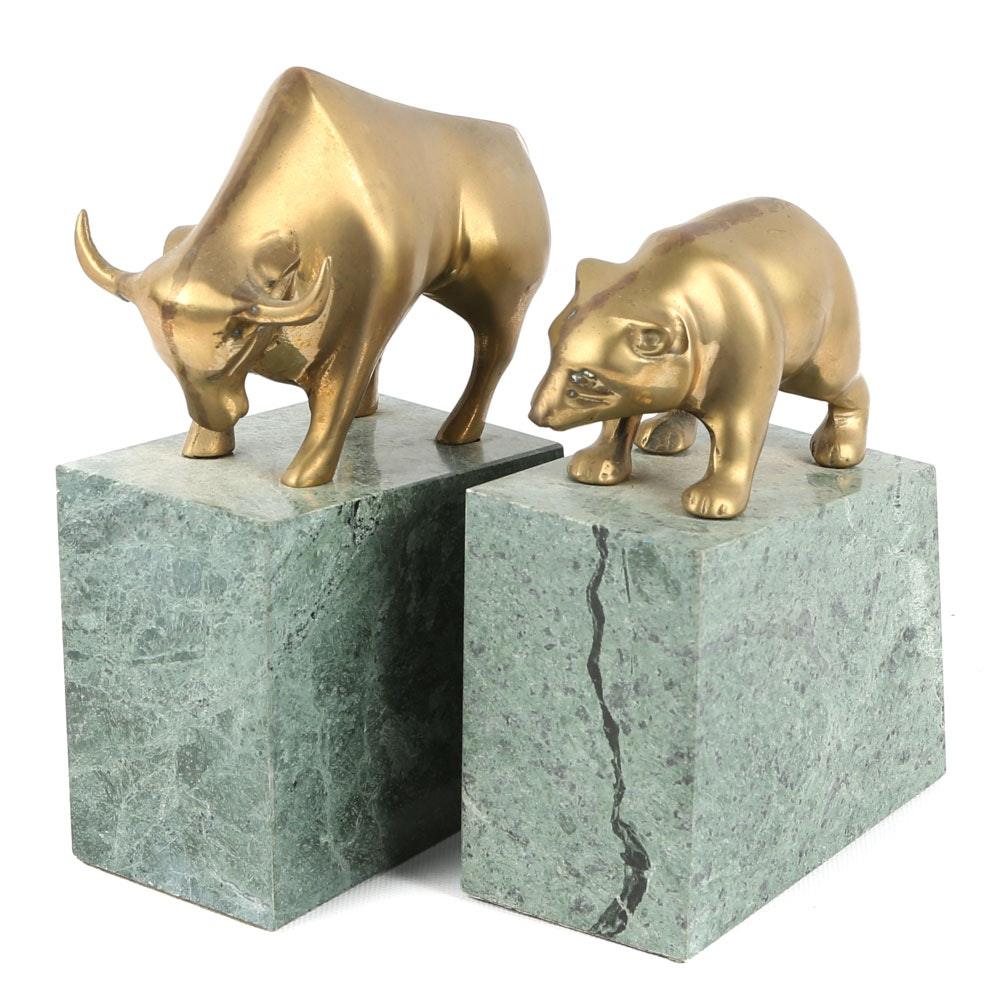 """Gatco """"Bull and Bear Market"""" Brass and Stone Bookends"""