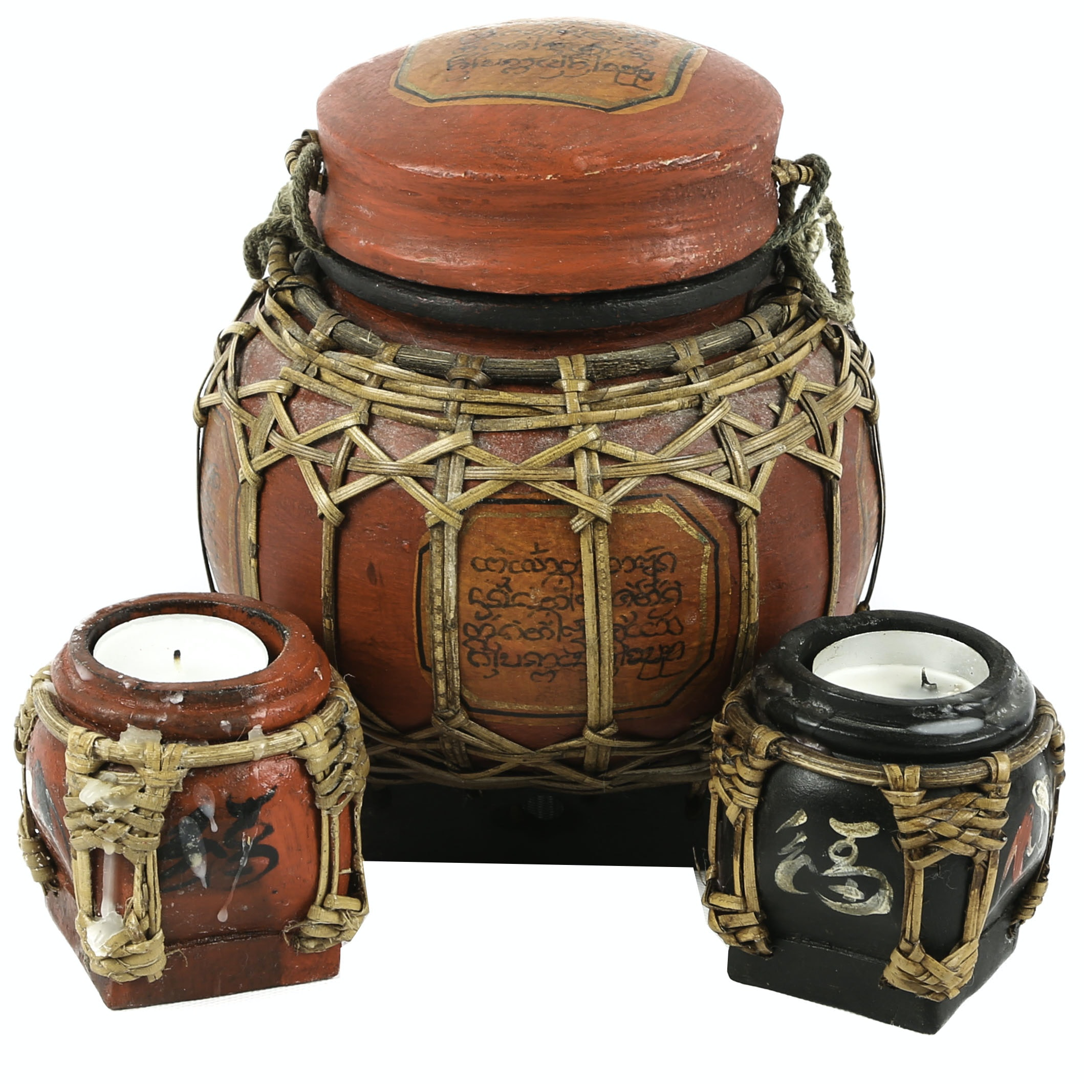 Chinese Basket and Candleholders