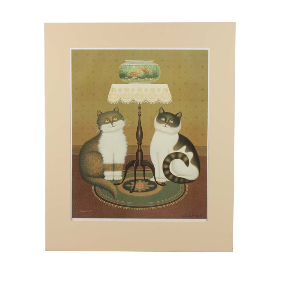 """Charles Wysocki Signed Limited Edition Offset Lithograph """"Shall We"""""""