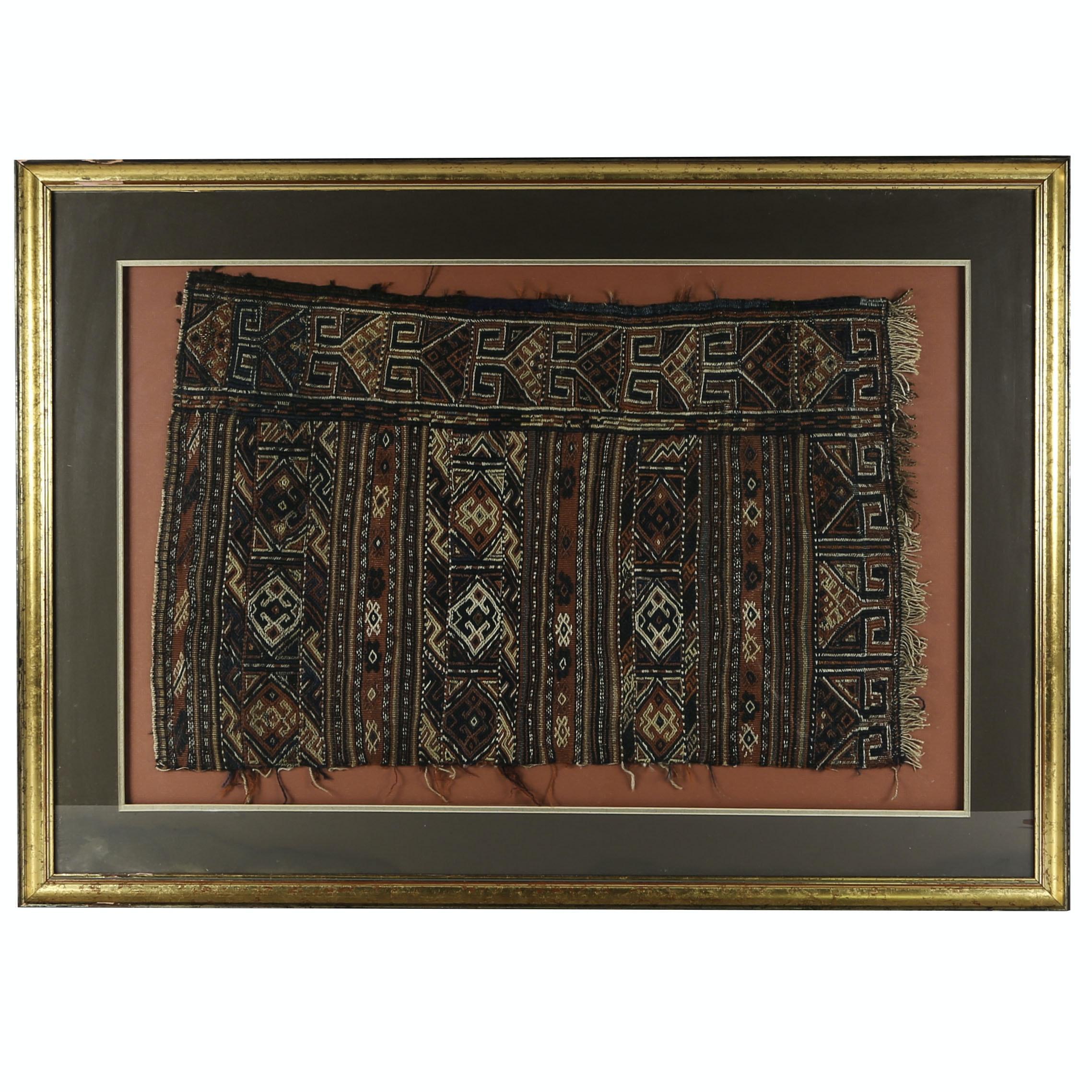 Framed Handwoven Kurdish Saddle Bag Fragment