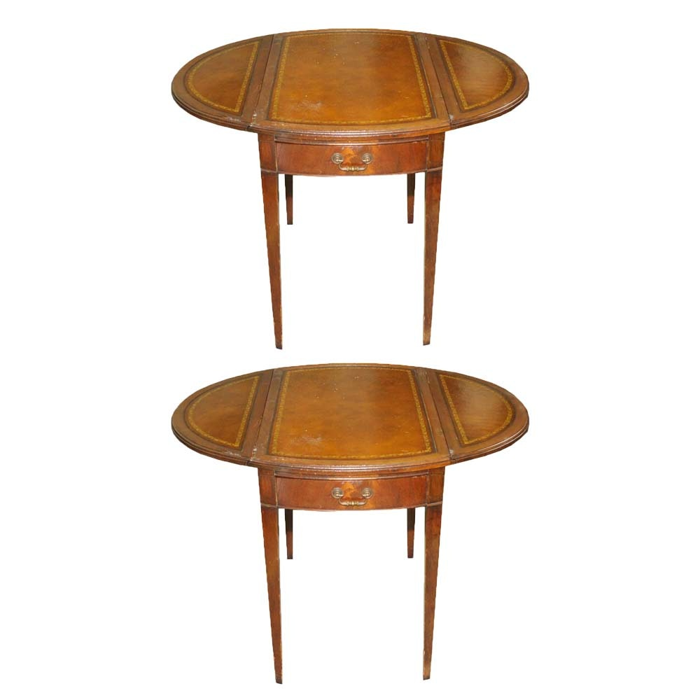 Pair of Pembroke Style Leather Top Side Tables