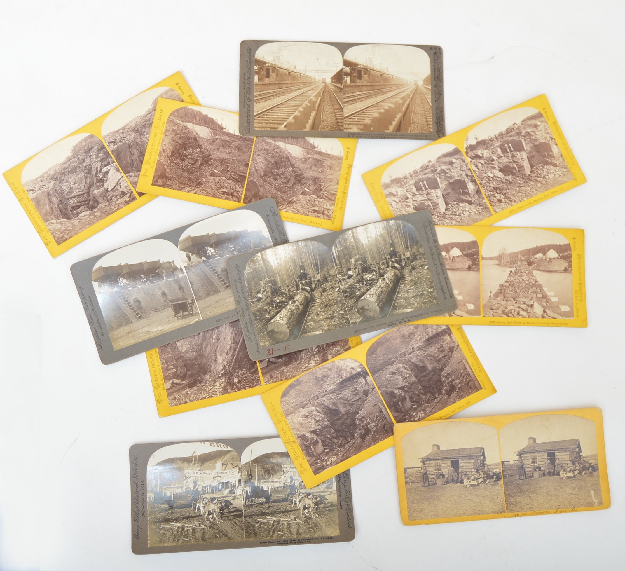Vintage Stereoscopic Cards with Gold Rush, Pioneer, Railway