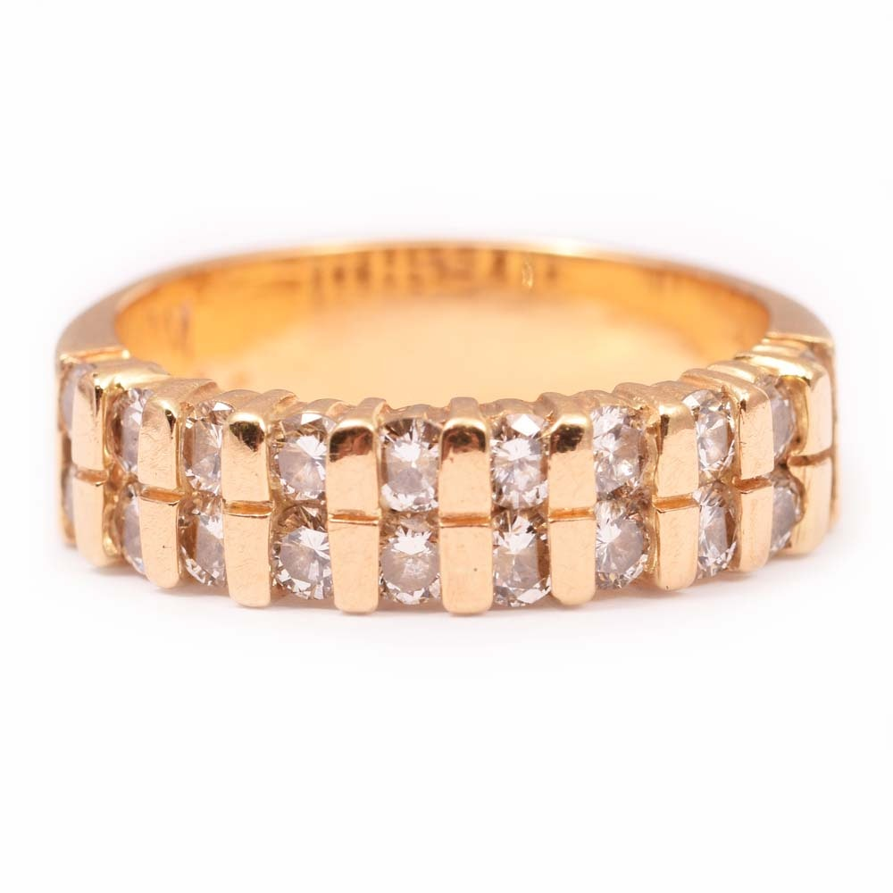 18K Yellow Gold Double Row 1.15 CTW Diamond Ring