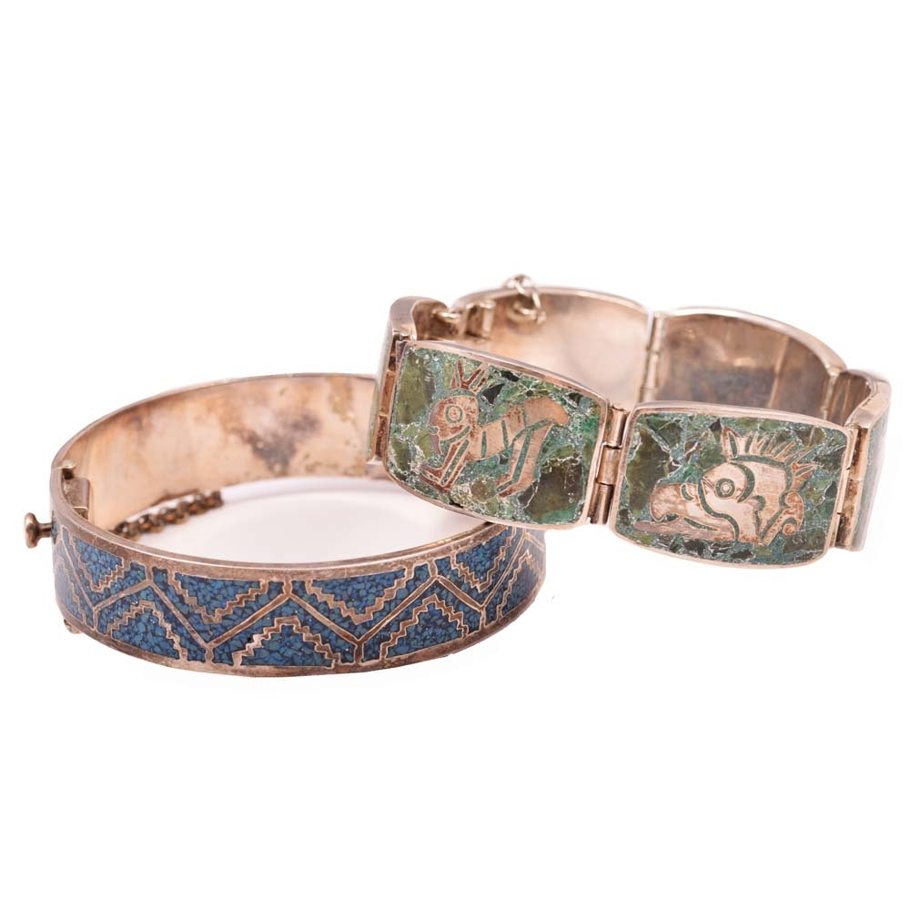 Sterling Silver Inlay Chip Turquoise Bangle and Six-Station Animal Bracelet