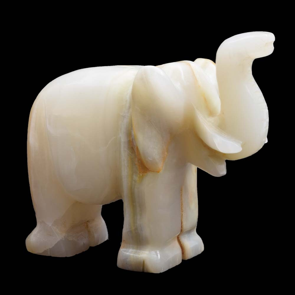 Small Carved Banded Calcite Elephant Figurine