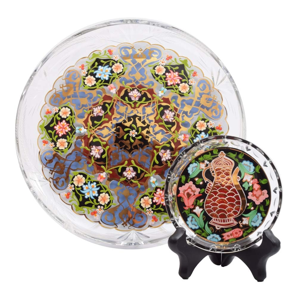 Turkish Pasabahce Glass Hand-Painted Plates with Stand
