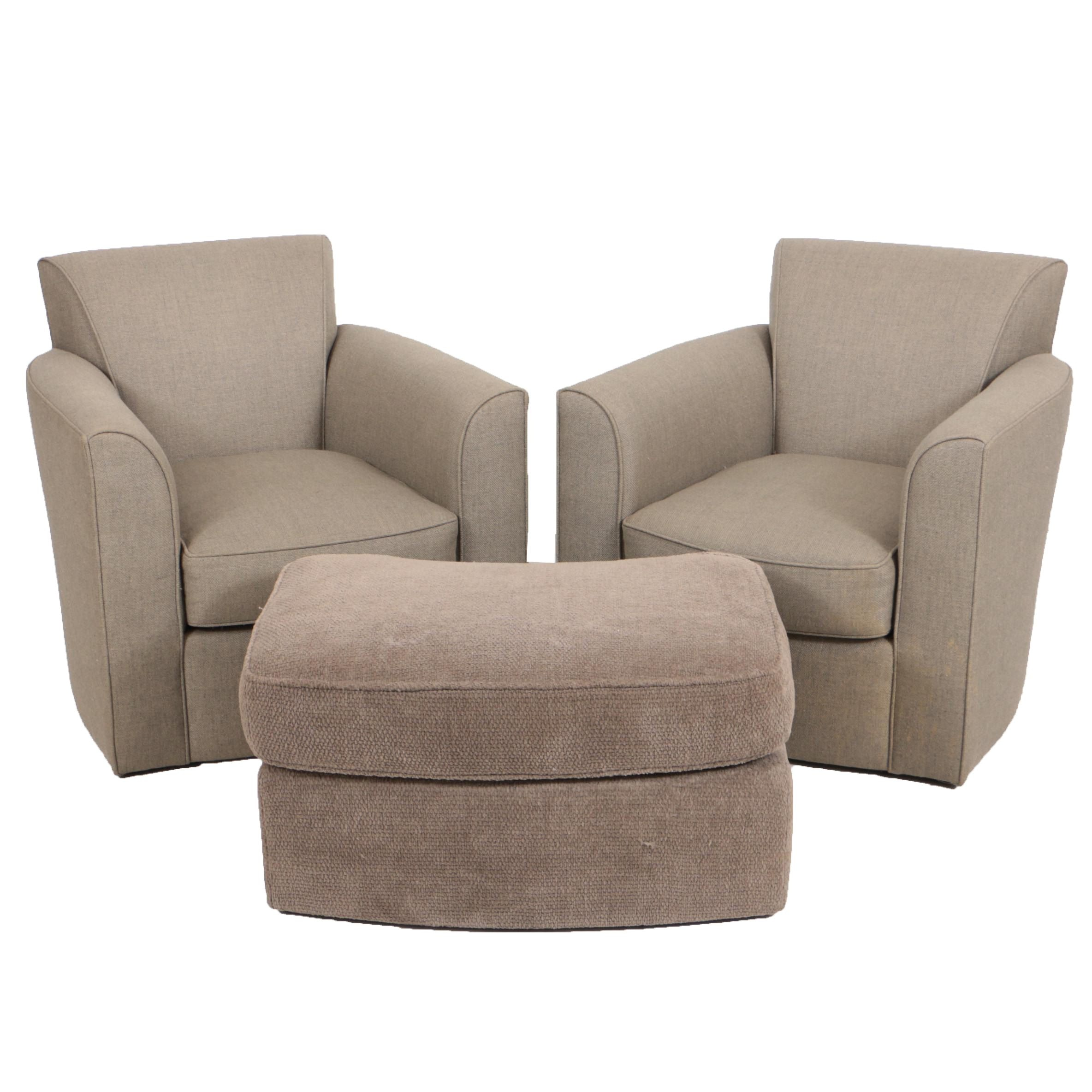 "Pair of Donghia ""Noble"" Swivel Chairs and Ottoman"