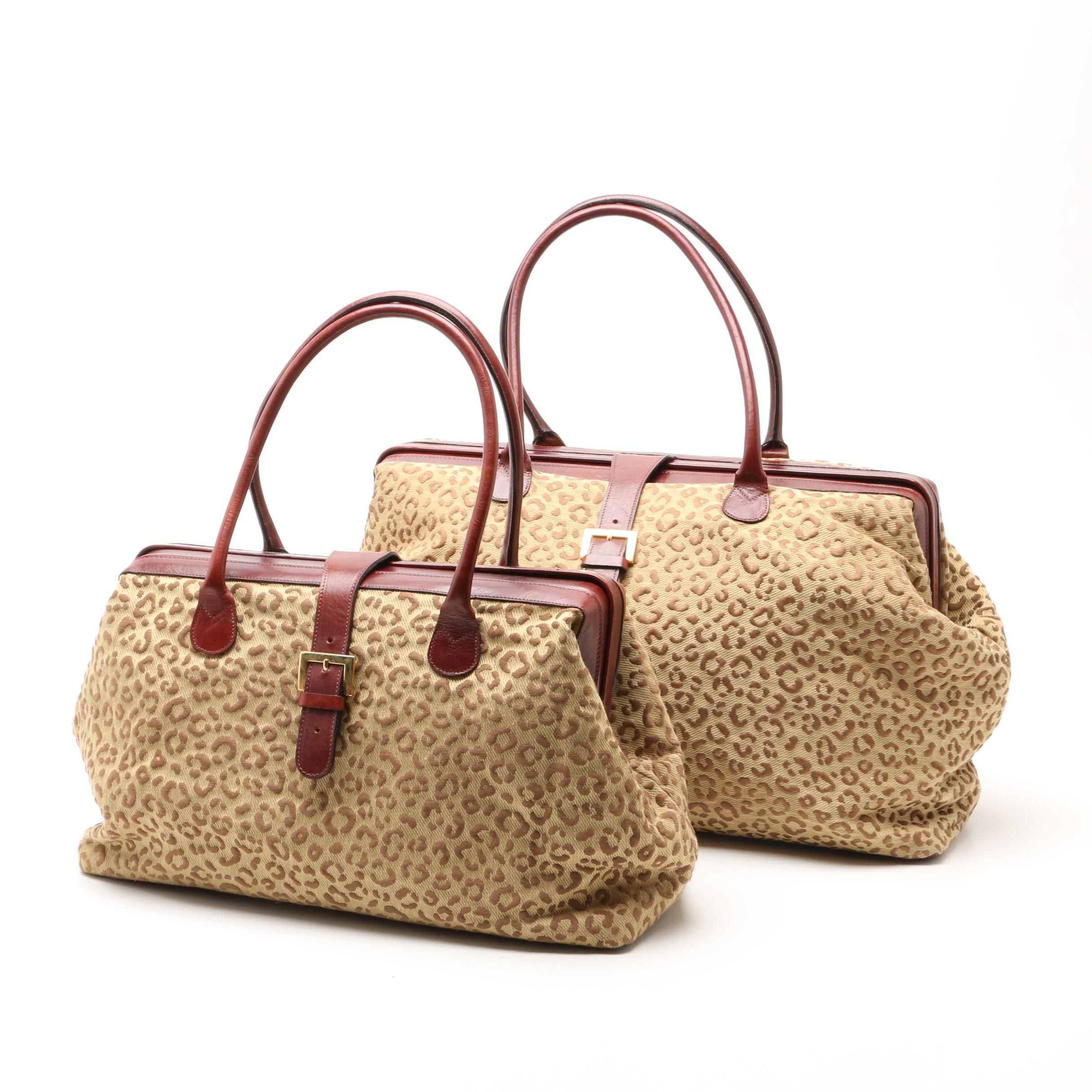 DeRestivo Cheetah Print Totes with Leather Trim