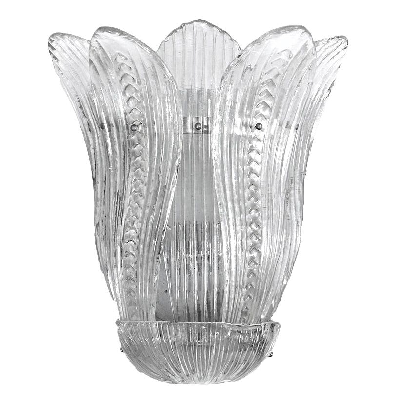 Salvaged Art Deco Style Murano Glass Sconce Attributed to Barovier & Toso