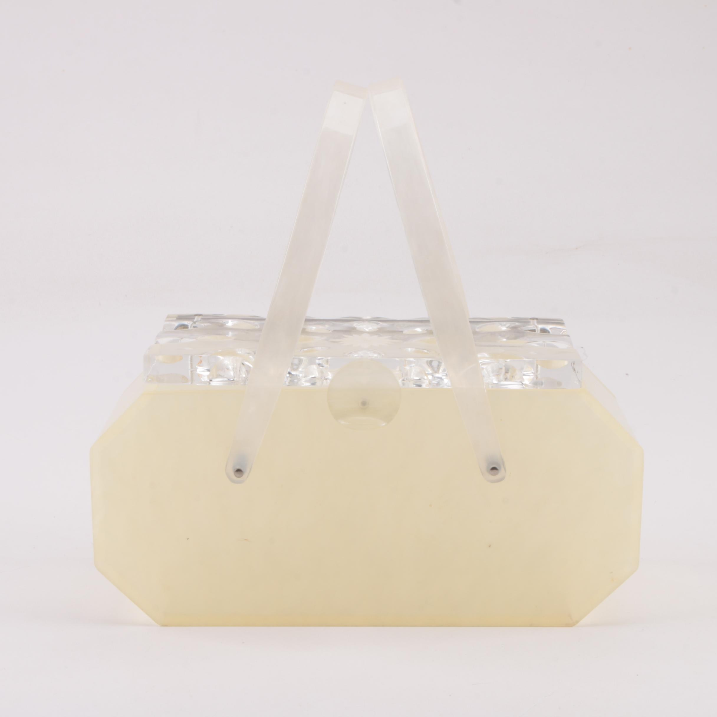 Circa 1960s Vintage Wilardy Lucite Box Purse with Carved Lid