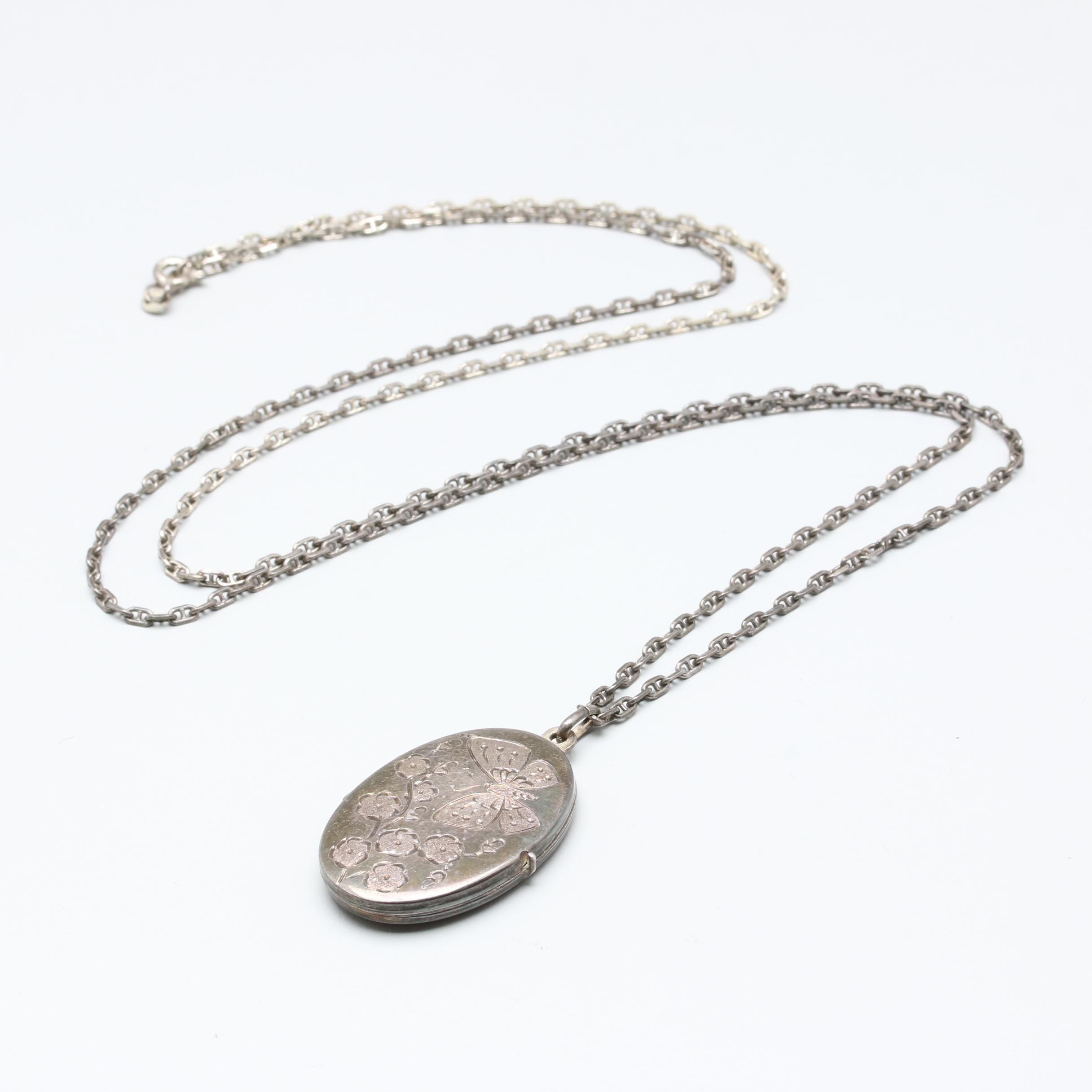 Sterling Silver Locket Pendant Necklace